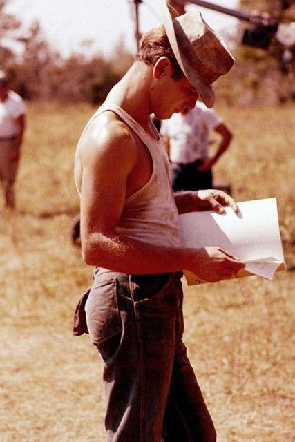 paul newman on the set of cool hand luke •  1967