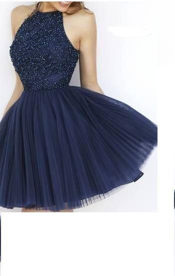 Charming Prom Dress,Tulle Prom Dresses,Short Prom Dress,Navy Blue