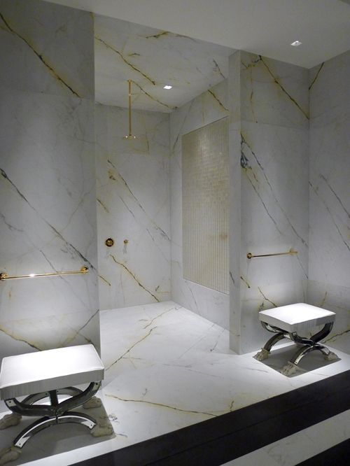 Stone Bathroom with Gold Accents