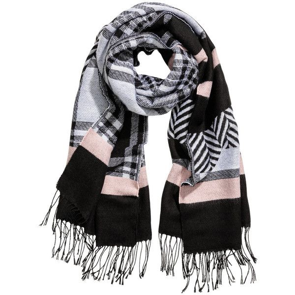 Jacquard-weave scarf 89 AED ($349) ❤ liked on Polyvore featuring accessories, scarves, short scarves, patterned scarves, green scarves, green shawl and fringe scarves