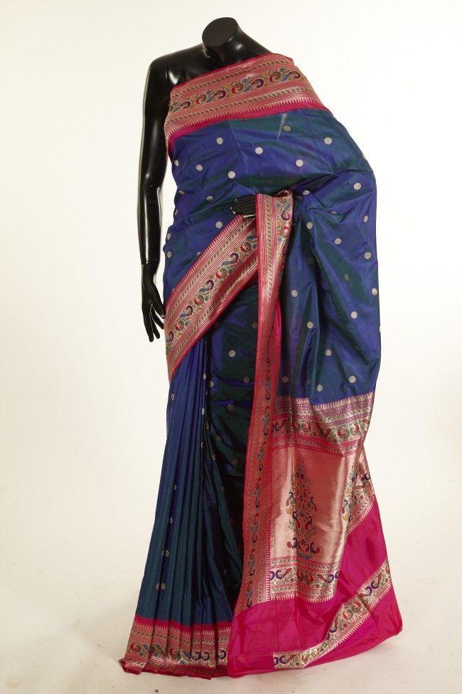 Banarsi- khatan pure silk dark pottery blue saree with blouse