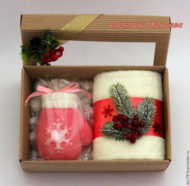 """Купить Подарочный набор """"Варежка"""". Новый год. Новогоднее мыло. - разноцветный, мыло, мыло ручной работы"""