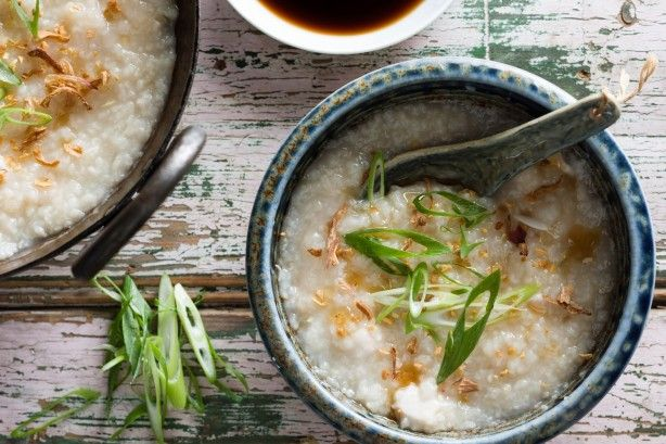 Chicken congee is simple comfort food at its best. Top this congee with sesame oil, fried shallots and garlic to amp up the flavor.
