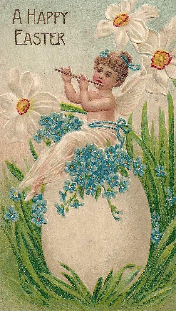 .vintage viool spelend Engeltje op een EI-Paaskaart,./.../lb