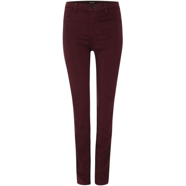 J Brand Mid rise luxe sateen skinny jean in mulberry ($295) ❤ liked on Polyvore featuring jeans, burgundy, women, mid-rise jeans, stretchy jeans, super skinny jeans, super stretchy skinny jeans and stretch jeans