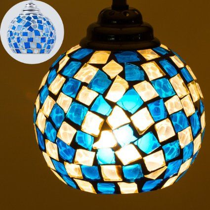 綺麗なビードロペンダントライト 【グエル】 モザイクデザイン アートステンドグラス LED対応 サファイア