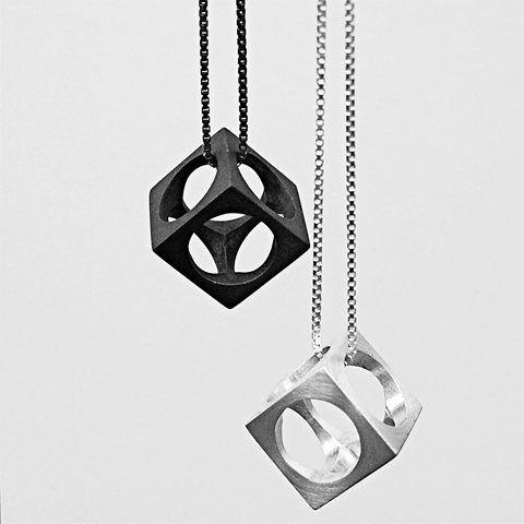Jonno Cube Pendant, to wear high or low! By Betty & Cash