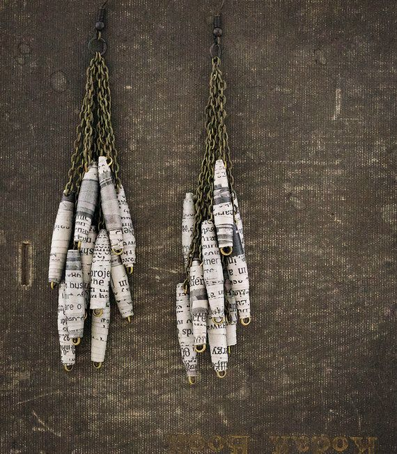 Black and White Paper Bead Earrings by ByBeep on Etsy