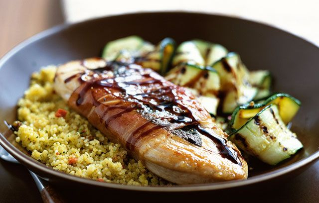 Turkey Saltimbocca with Garlic and Coriander Couscous