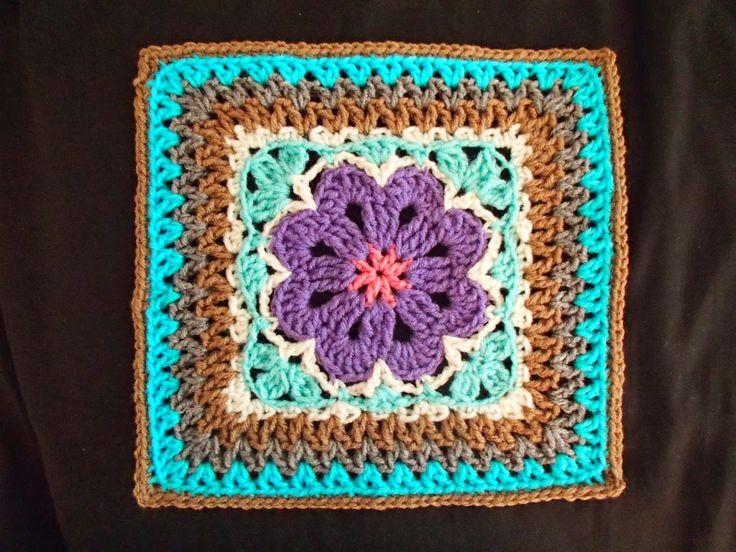 Krasnoludkowe bazgrołki (brownie doodles?): Flower Tile Afghan Square