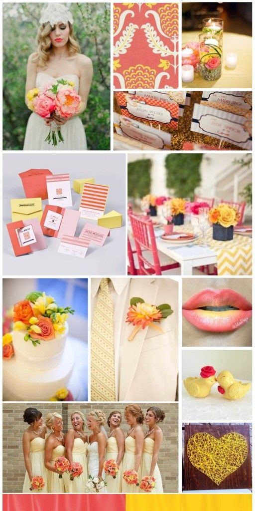 Coral and Yellow Wedding, inspiration board by The Simplifiers | Austin
