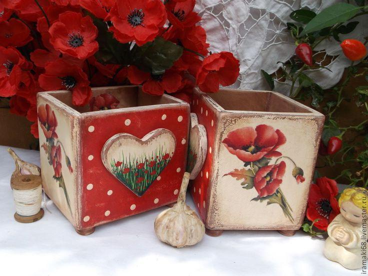"Коробочки""Маки"" - коробочка,коробочка для мелочей,коробочка для чая,для специй"