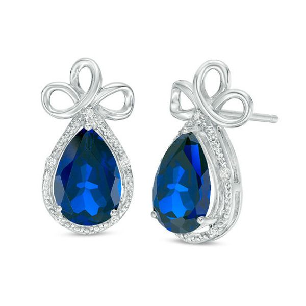 Pear Shaped Lab Created Blue Sapphire And 1 20 Ct T W Diamond Frame Triple Loop Ribbon Drop Earrings In 10k White Gold In 2020 Drop Earrings White Gold Blue Sapphire