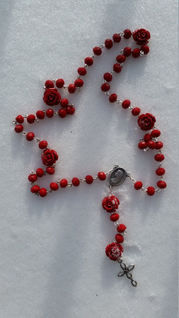 Handmade Chain Rosary: Red Roses by GardenOfRosaries on Etsy