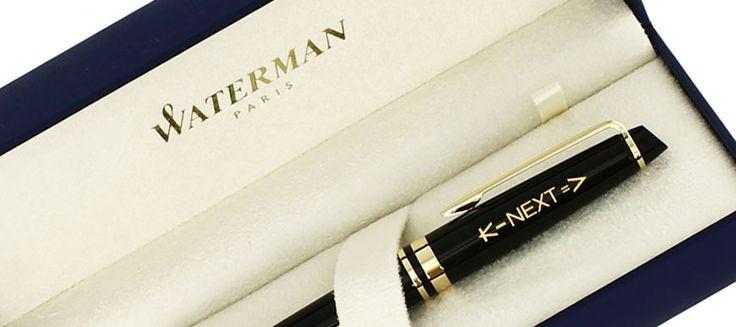 Un très beau stylo Waterman Expert laqué noir qui arbore avec classe le logo de la société KNEXT  #stylo #personnalise