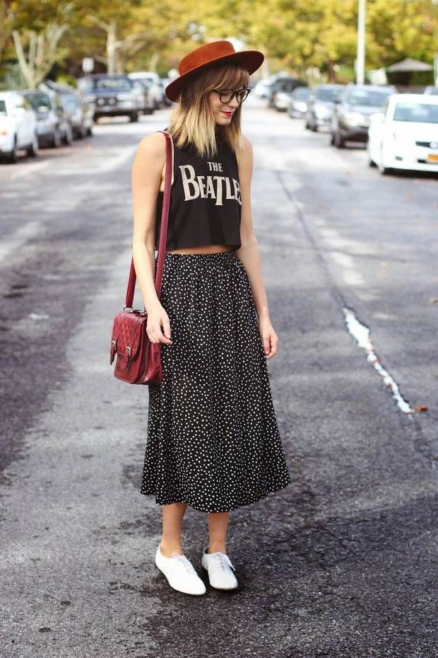 Maxi skirt red leather pure blonde ombré ked's glasses brown hat hipster fashion floral Beatles bangs