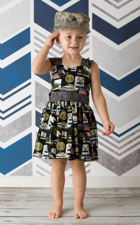 Girls Army Dress Girls Patriotic Dress by WaverlyWadeDesigns