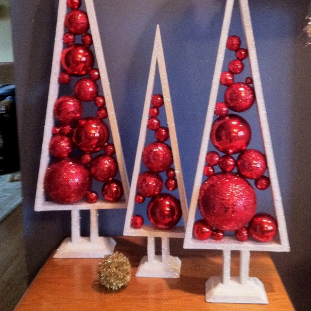 Wood Frame Christmas Trees Filled With Round Ornamentsno Link To Source But