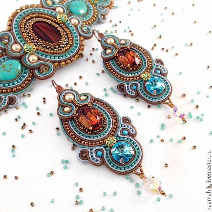 Купить Серьги «Шоколад и Мята» - разноцветный, сутажные серьги, сутаж, сутажные украшения, Сваровски