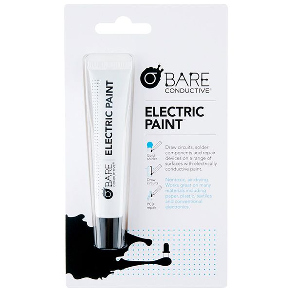 Bare Conductive - Electric Paint Pen (10ml) is just like any other water-based paint, except that it conducts electricity! This means that you can paint wires or sensors directly onto almost any material around you, including paper, wood, plastic and glass.
