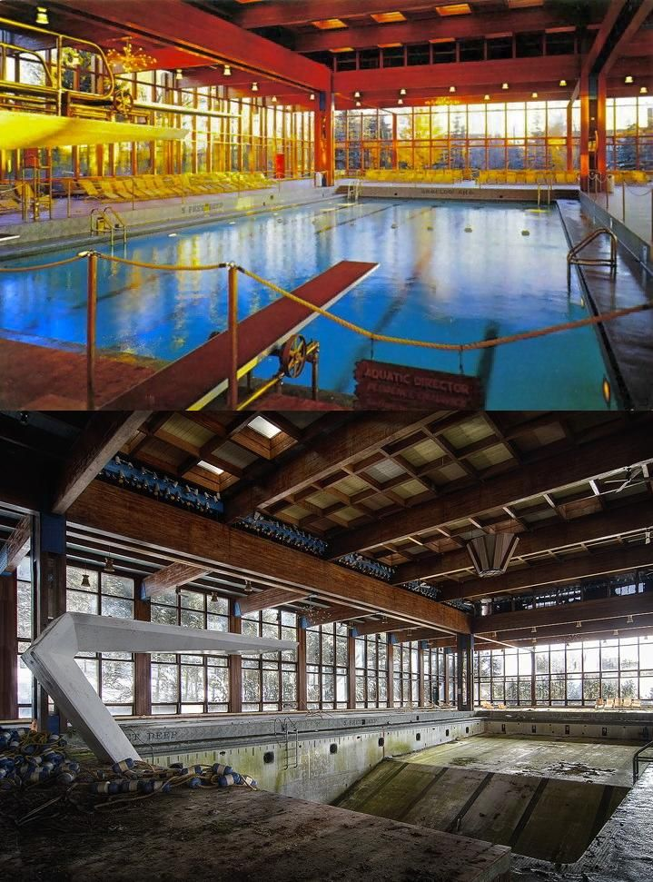 A then and now. Grossinger's Catskill Resort Hotel swimming pool. Located in the Borscht Belt of New York State. [719 × 971]. - Imgur