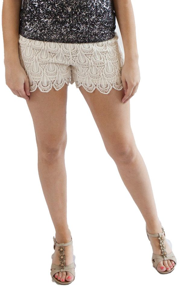 Cream Lace Shorts