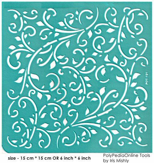 """Stencil plantillas patrón plantilla """"Hojas"""" de 6 pulgadas/15 cm, reutilizable, adhesivo, flexible, para la arcilla del polímero, vidrio madera, tela, elaboración de tarjetas"""