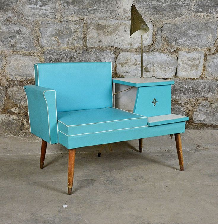 "Mid 20th Century Teal ""Gossip Bench"" Telephone Table"