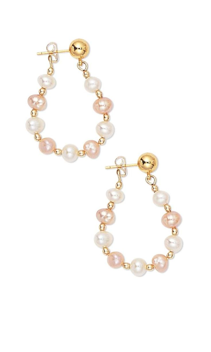 Jewelry Design - Earrings with Cultured Freshwater Pearls and Gold-Plated  Brass Beads - Fire