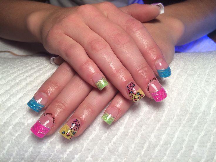 Glow in the dark rainbow acrylic nails