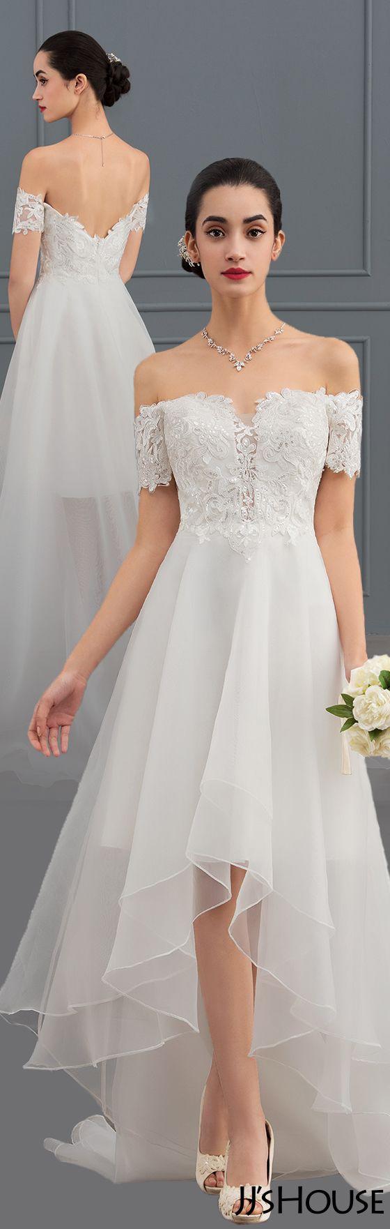 Amazing A-Line/Princess Off-the-Shoulder Asymmetrical Wedding Dress #JJsHouse#Wedding