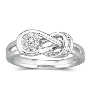 Everlon diamond knot ring