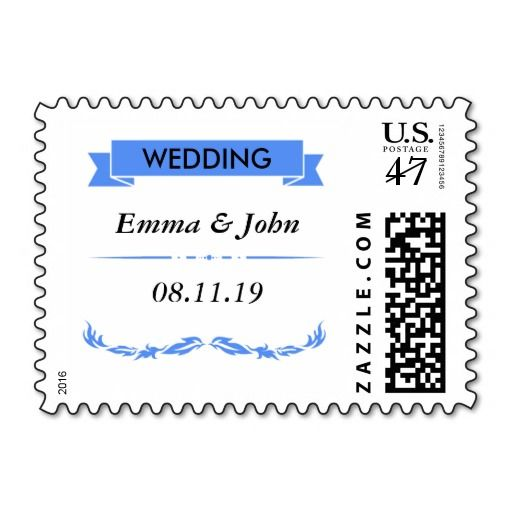 Elegant Blue Wedding Postage Stamp