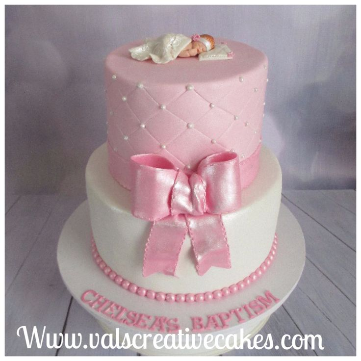 Pretty pinks baptism cake