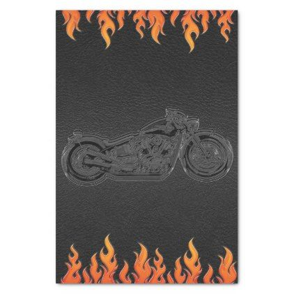 Black Leather Orange Flames Motorcycle Biker Party Tissue Paper - baby shower ideas party babies newborn gifts