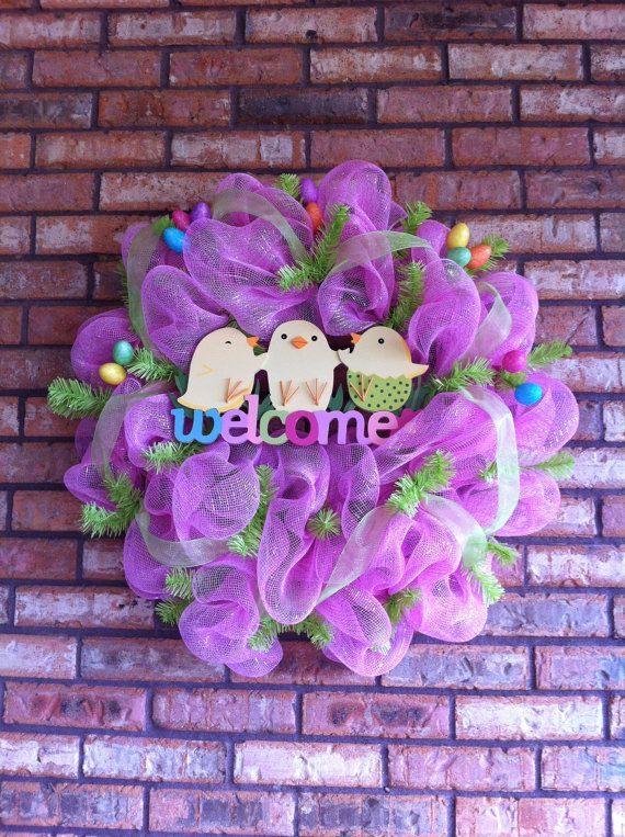 Poly Deco Mesh Easter Wreath by caitlyntackett on Etsy, $55.00