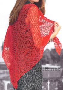 Красная шаль спицами