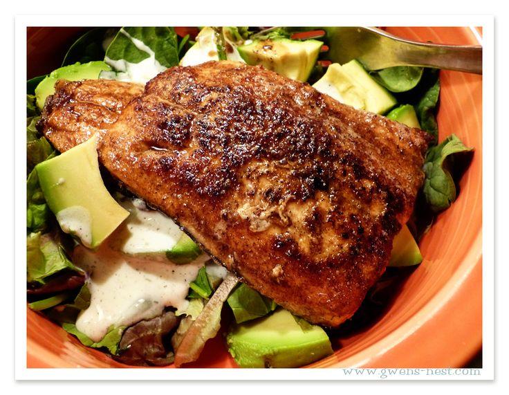 Trim Healthy Mama ~Pan seared Crispy Salmon fillet (p. 283) over salad