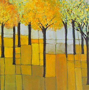 Mimi Prussack - Abstract Tree on Yellow 12 x 12 Acrylic on Canvas #art #painting http://www.artbymimi.com/abstracts.htm