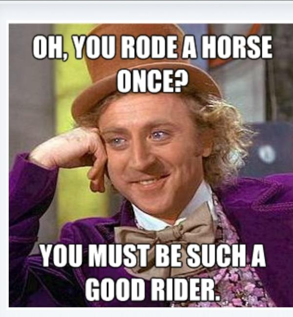 So true.. I'd love to get those people who think that on my horse and make him trot, they'd sit in the back and double with me, if they can hang on the back of that saddle and not fall off while I run up a hill, THEN, you are a okay-ish rider. (Which by the way, I have done. My horse has SUCH a rough trot, and my saddle has a super low back, I hang on though. My hands were so bruised!!!!)