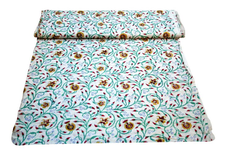 New Hand Block Print Craft Sewing Indian Fabric Cotton Voile Material 5 Yard  #Handmade