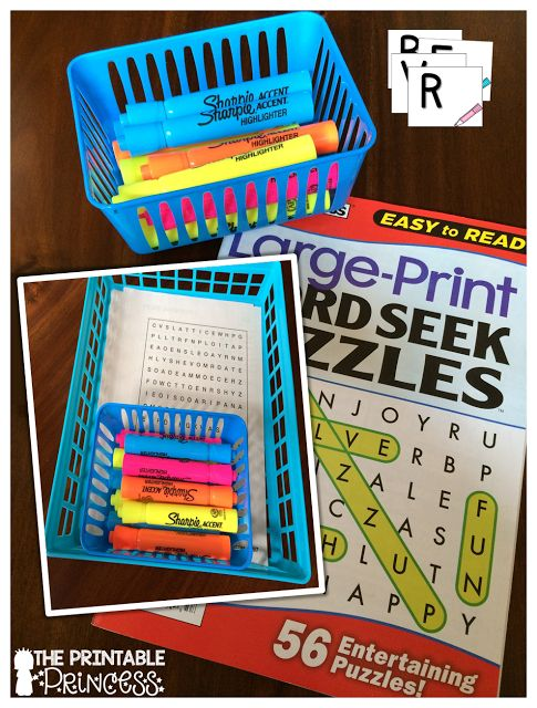 GENIUS!!! Use Word Search books as an alphabet center. She has directions and FREE letter cards on the blog.
