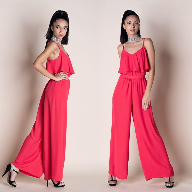 FIRE CRUSH JUMPSUIT ---The Fire Crush Jumpsuit is the perfect piece to look put together in a flash! This jumpsuit features a sleeveless bodice with big flared panel, darting, and a fitted waist that falls into a wide-leg pants. // Chiffon // Fully lined // Tailored // Spaghetti straps // High waistband // Hidden back zipper closure // Wide-leg // Relaxed fit - true to size