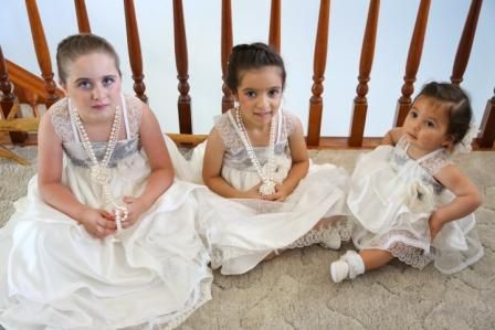 My flowergirls in their Vellos Bridal Gowns.