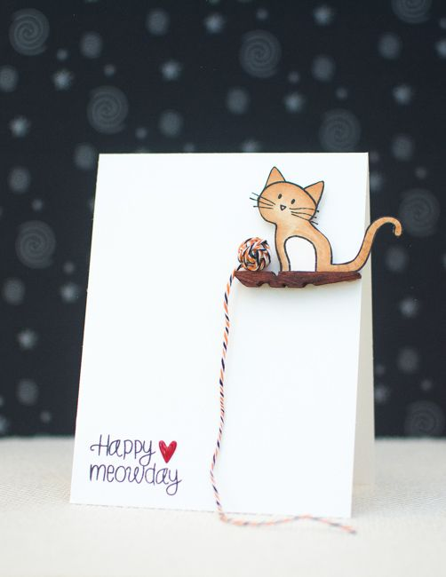 Paper crafting - How to make a Kitty Cat Greeting Card.  Found on Makezine, posted on Mayholicraft.