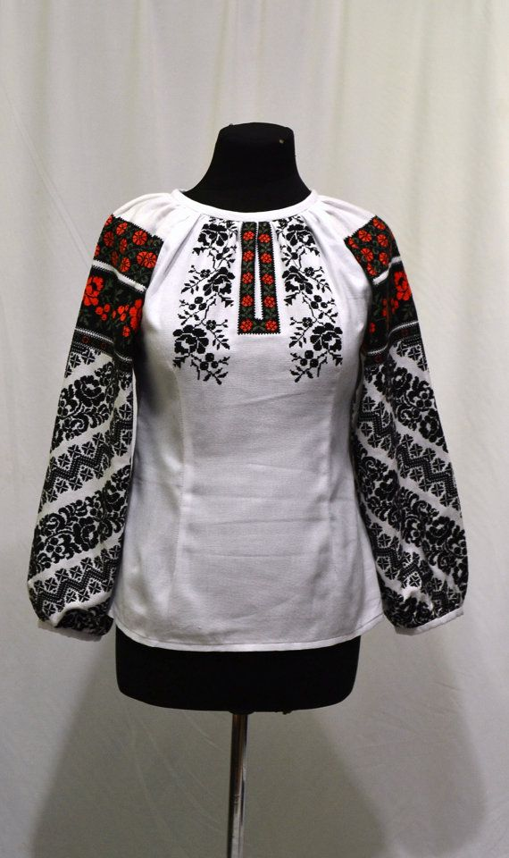 Ukrainian folk embroidered blouse, Blouses with embroidery. Embroidery old pattern. Embroidery for women.009