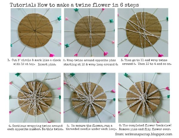So simple! How to make a looped twine flower with a quick and easy cardboard loom.