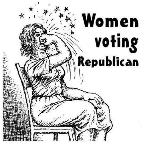 Robert Crumb women voting republican- Ha, exactly. This could also be drawn with anyone who isn't a rich, white, Christian, straight male.