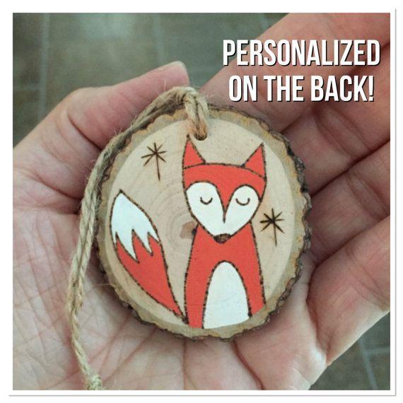 Personalized wood Christmas ornament fox ornament by MalamiStudio