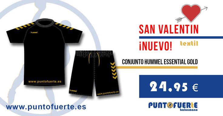 ¡Nuevo conjunto #Hummel Essential Gold! Un excelente regalo para #SanValentín que cumple las tres B: bueno, bonito y barato. ¡Regala balonmano con #PuntoFuerte! Más información: www.puntofuerte.es